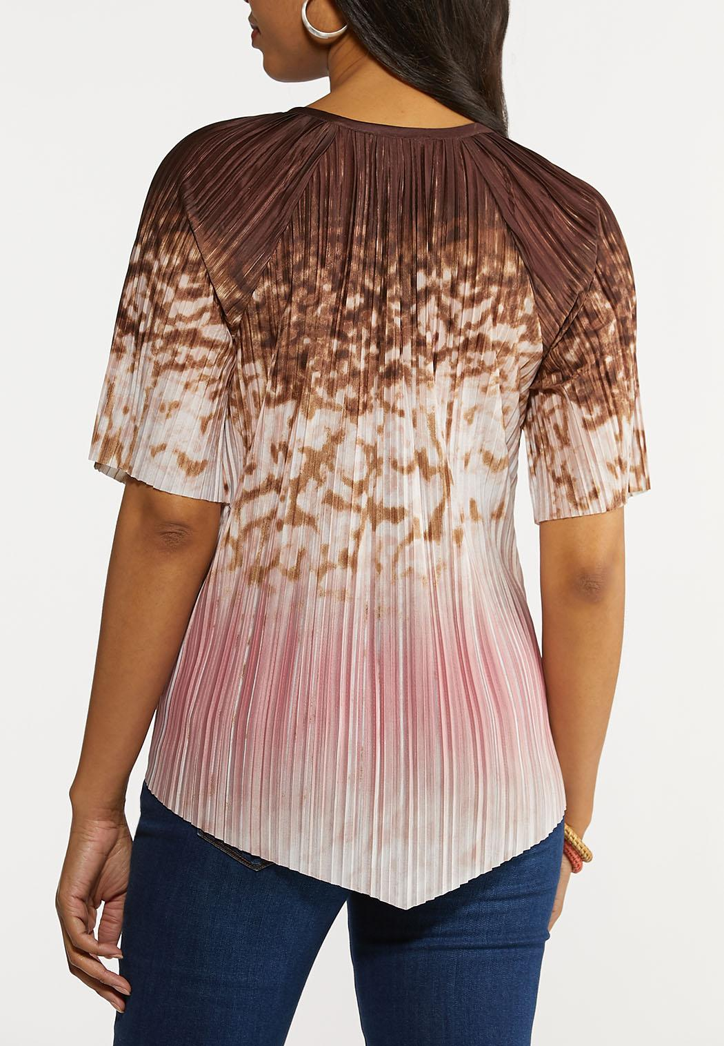 Plus Size Pleated Brown Dye Top (Item #44266430)