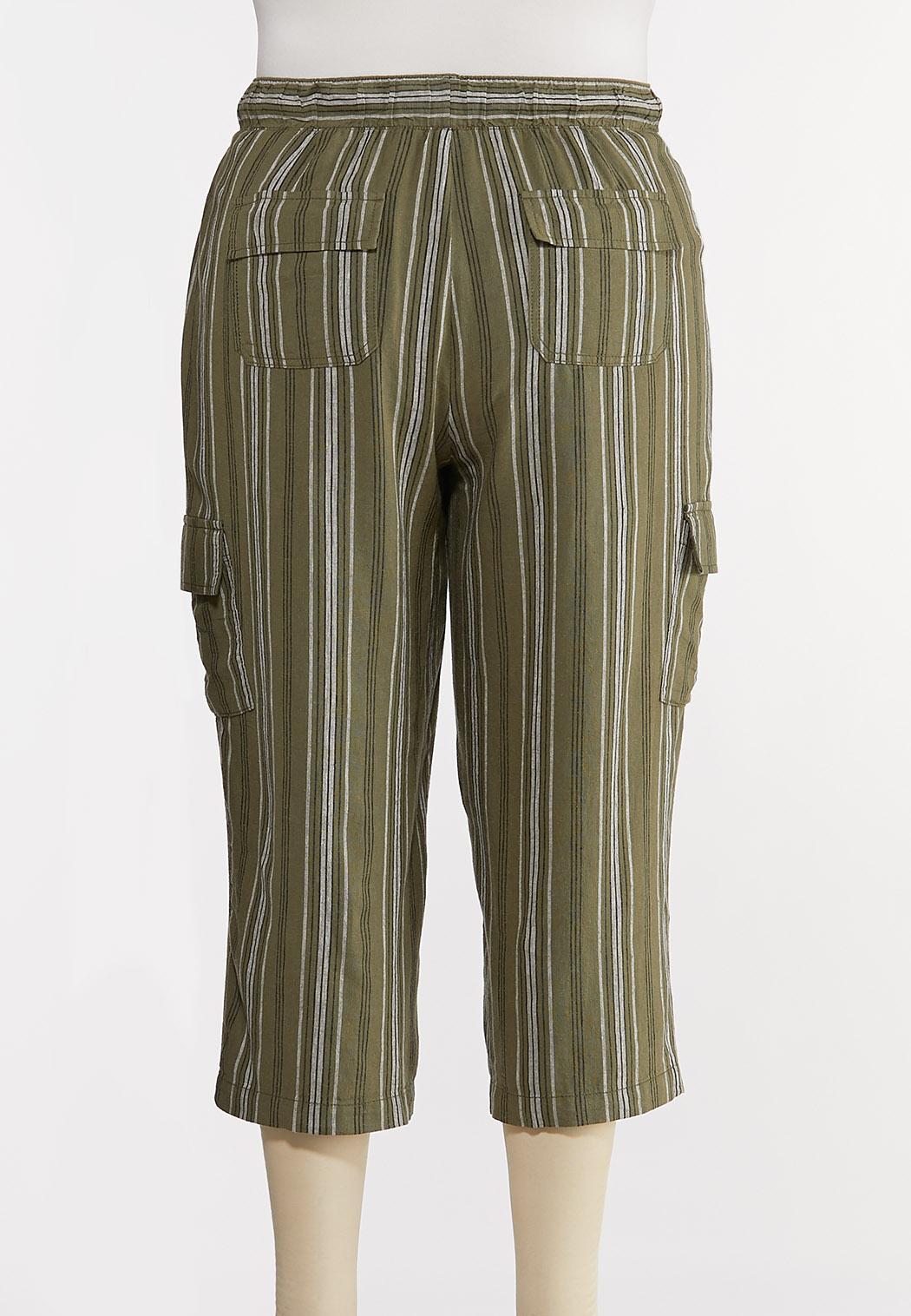 Plus Size Striped Linen Crop Cargo Pants (Item #44266758)