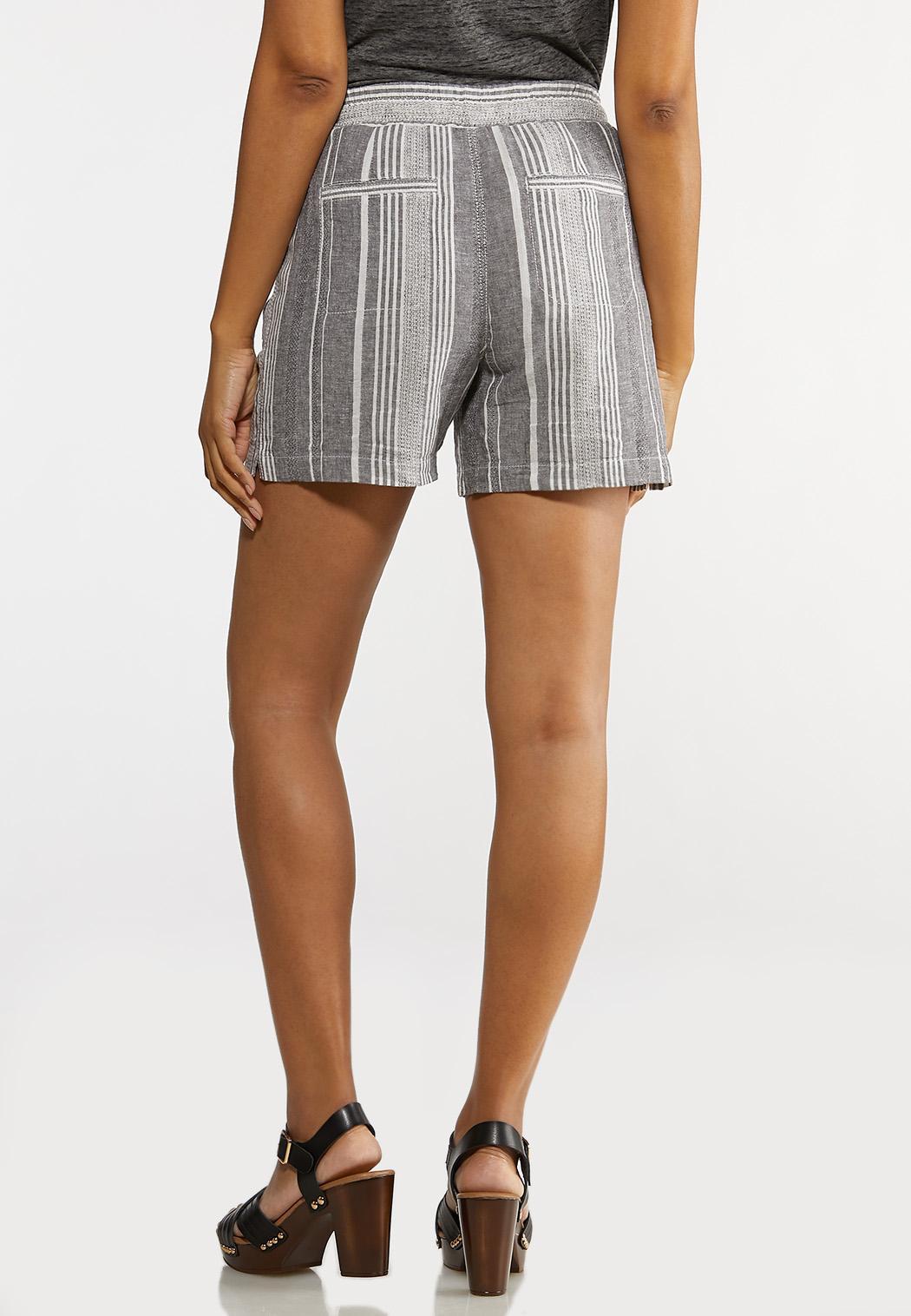 Gray Stripe Linen Shorts (Item #44266845)