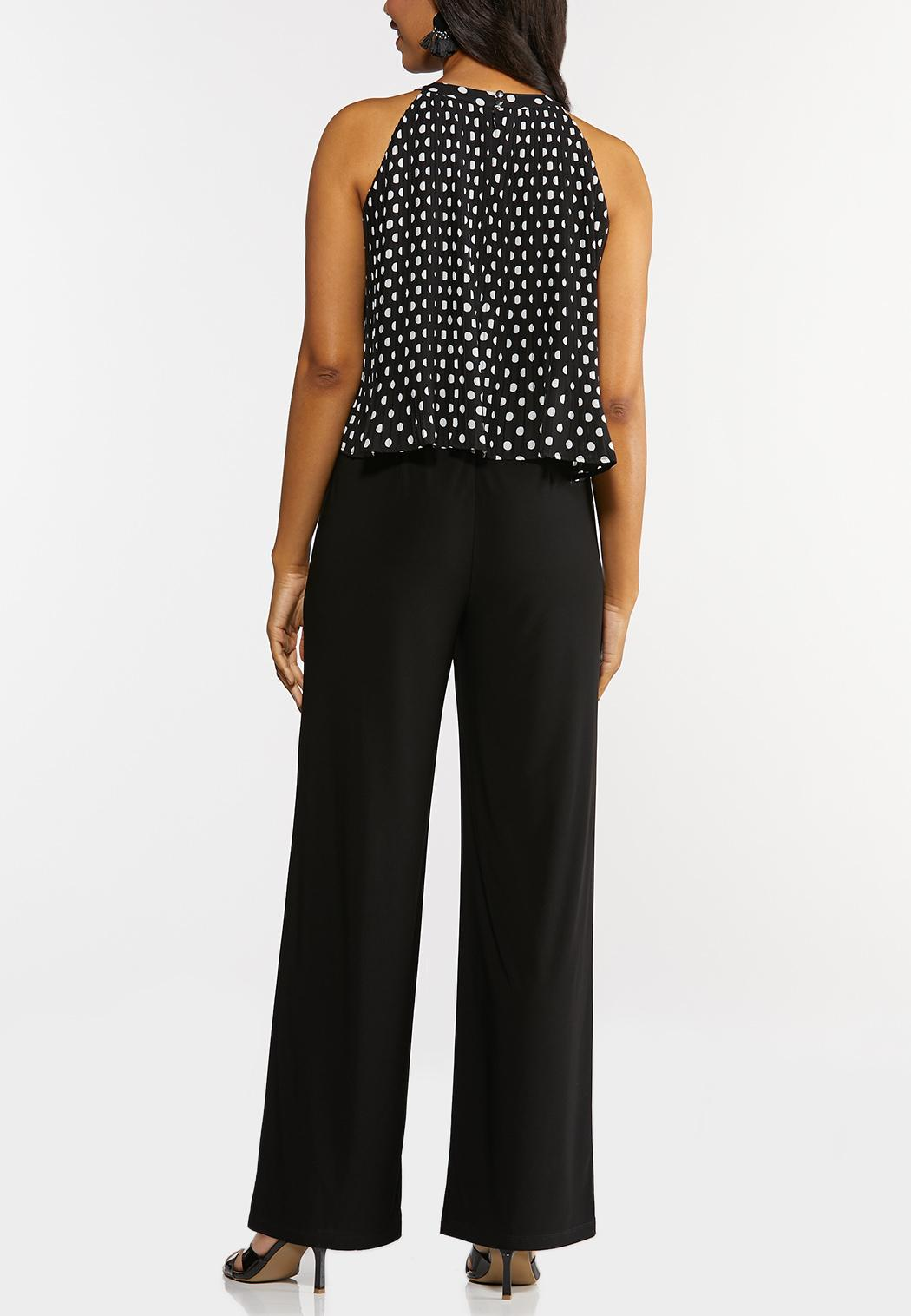 Plus Size Pleated Polka Dotted Jumpsuit (Item #44266856)