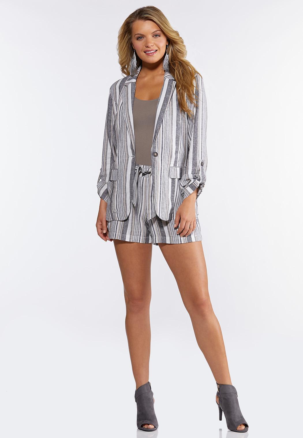 Striped Linen Shorts (Item #44266888)