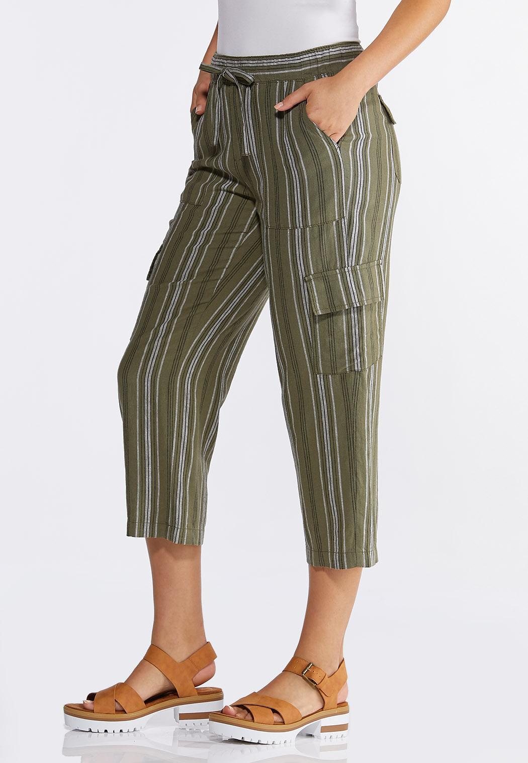 Striped Linen Crop Cargo Pants (Item #44267019)
