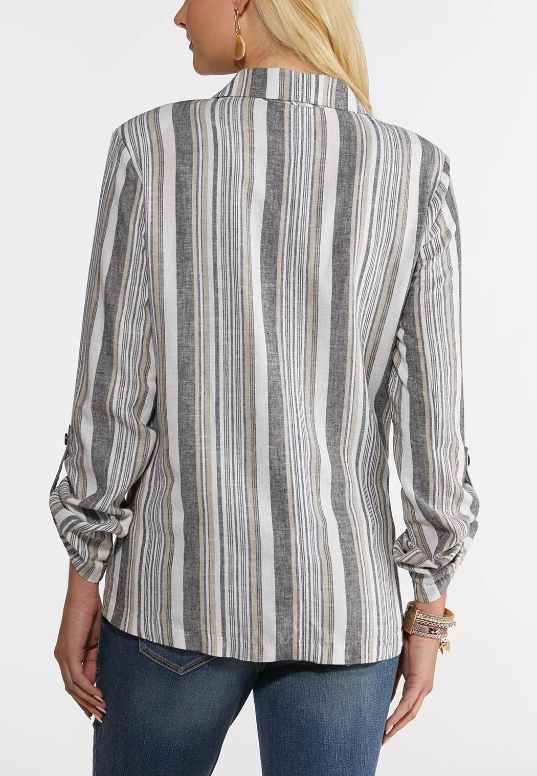 Plus Size Striped Linen Blazer (Item #44267087)
