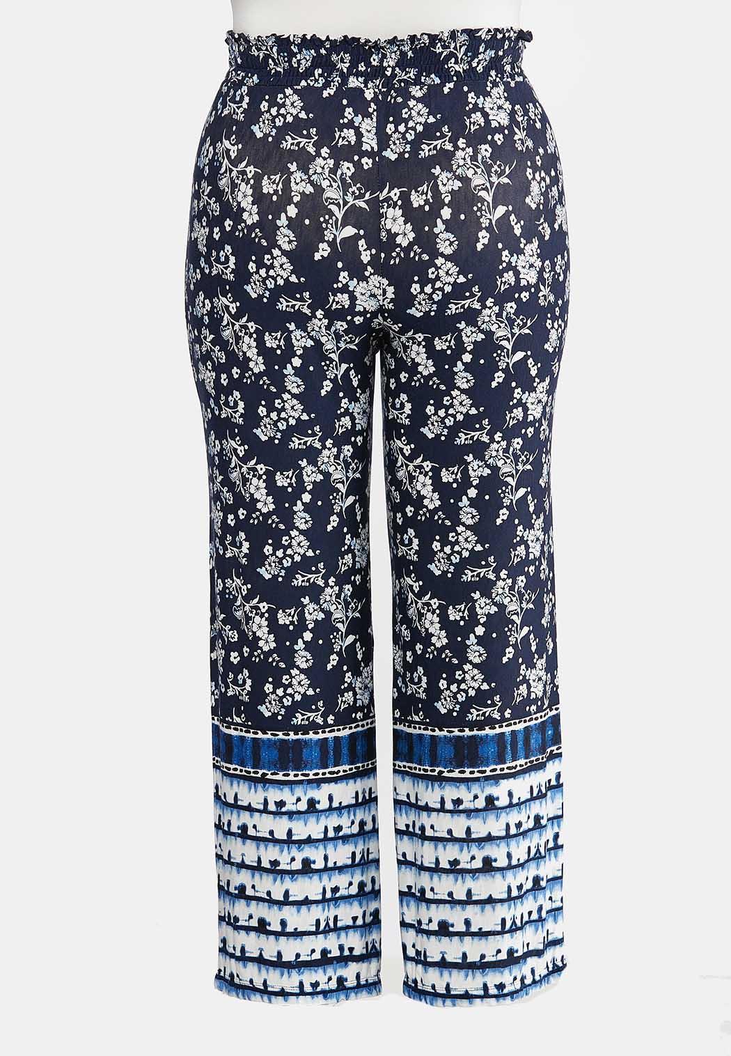 Plus Size Floral Tie Dye Panel Pants (Item #44268145)