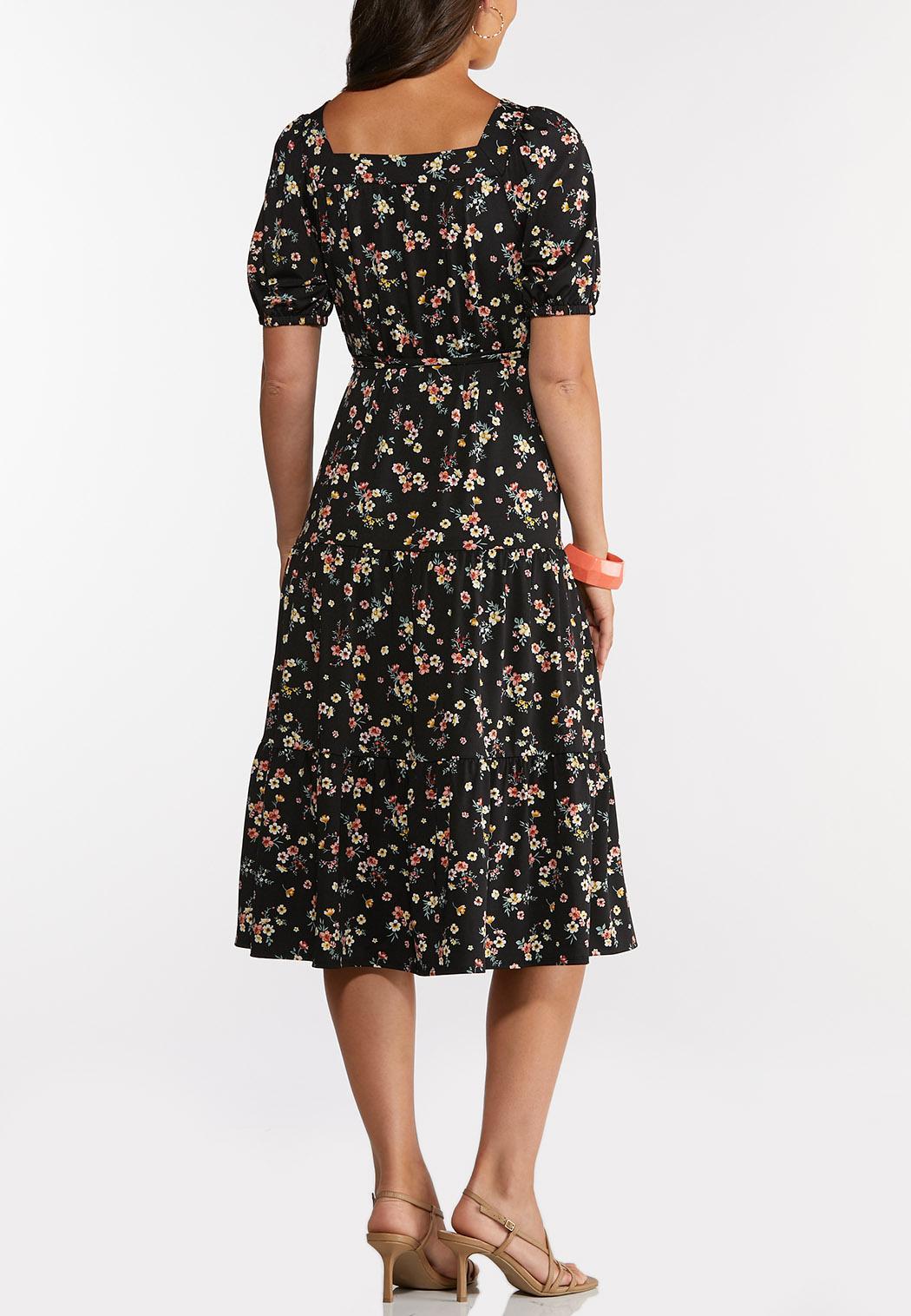 Plus Size Black Floral Midi Dress (Item #44268777)