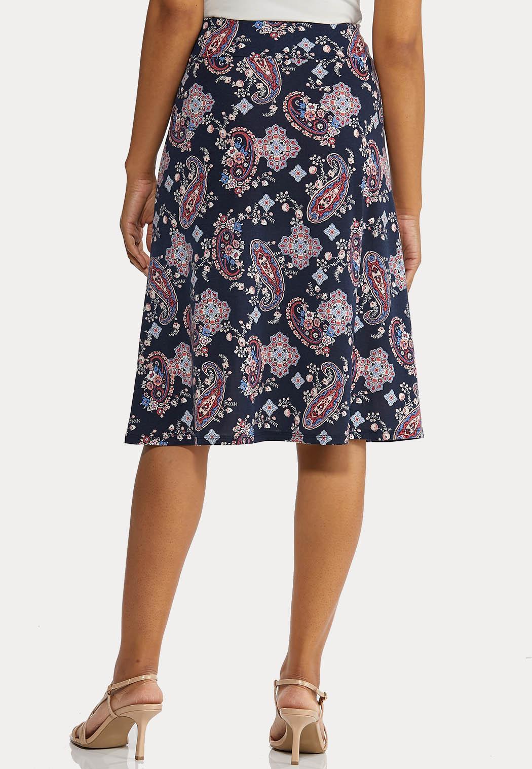 Plus Size Paisley Tie Front Skirt (Item #44269129)