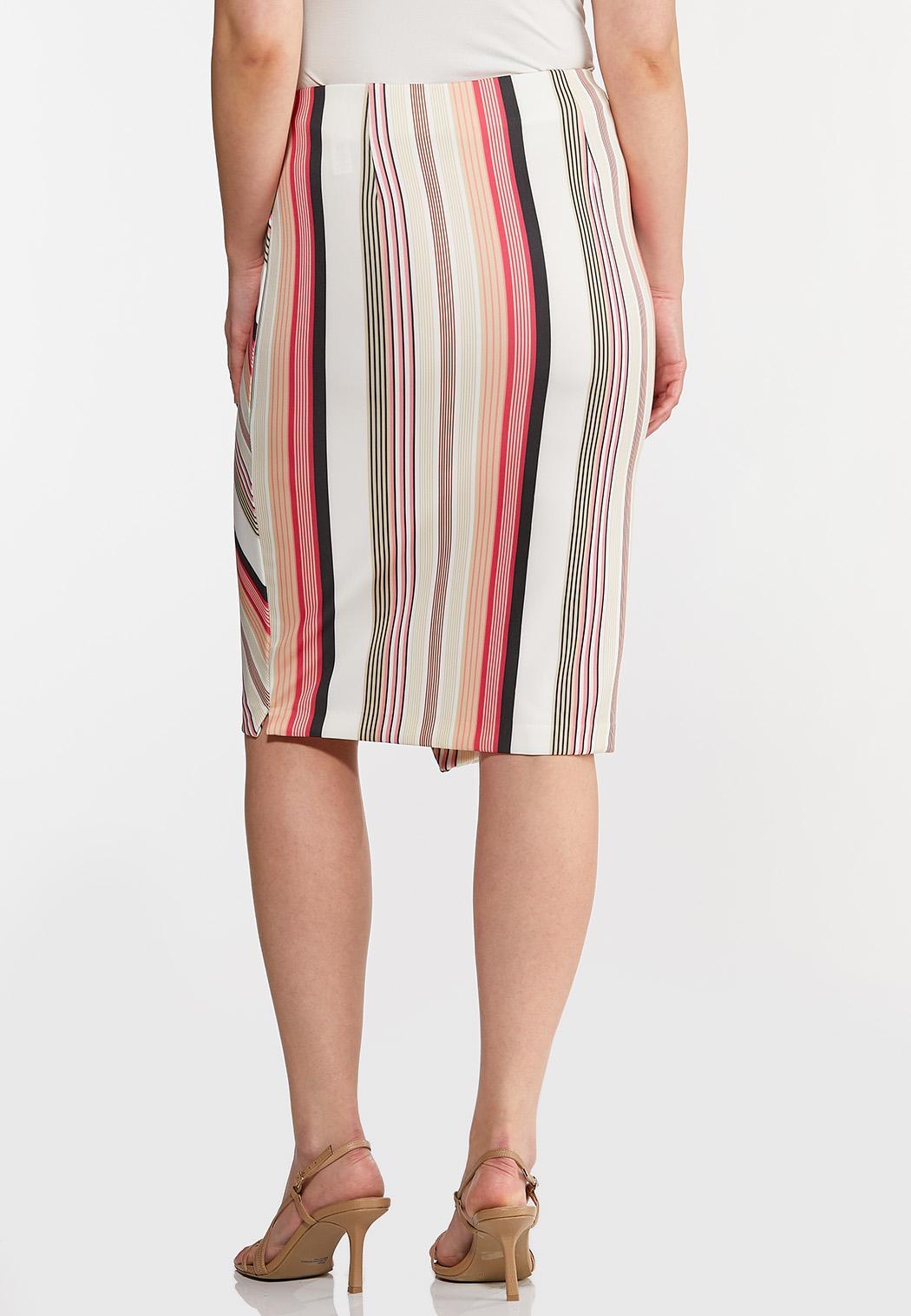 Plus Size Button Raspberry Stripe Skirt (Item #44269195)
