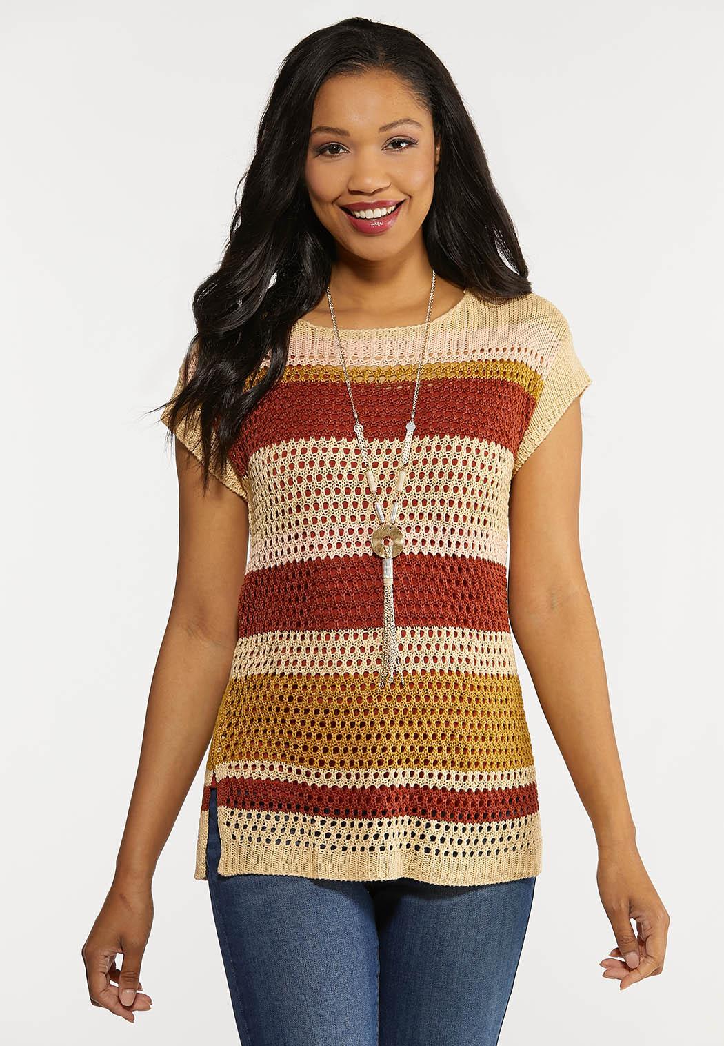 Stripe Open Stitch Sweater (Item #44269297)
