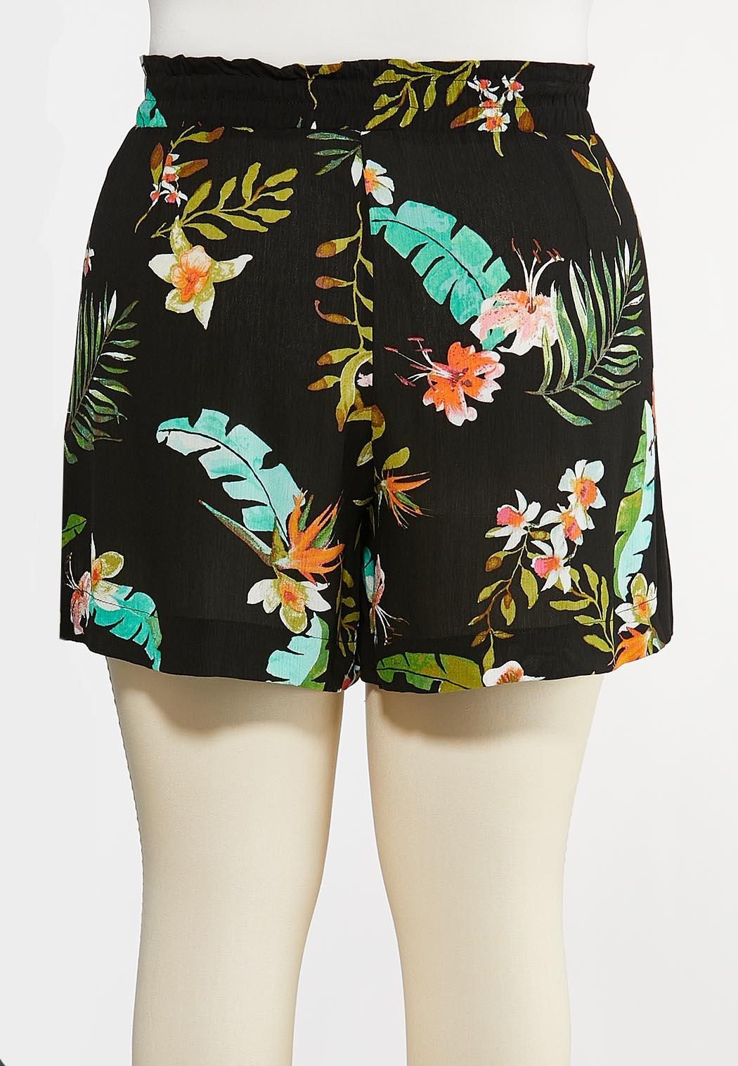 Plus Size Tropical Gauze Shorts (Item #44269382)