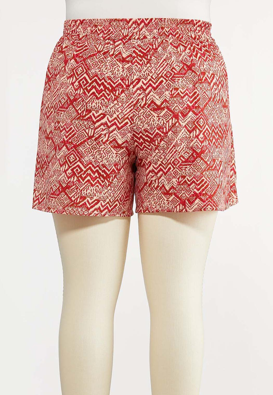 Plus Size Tribal Tie Front Shorts (Item #44269411)