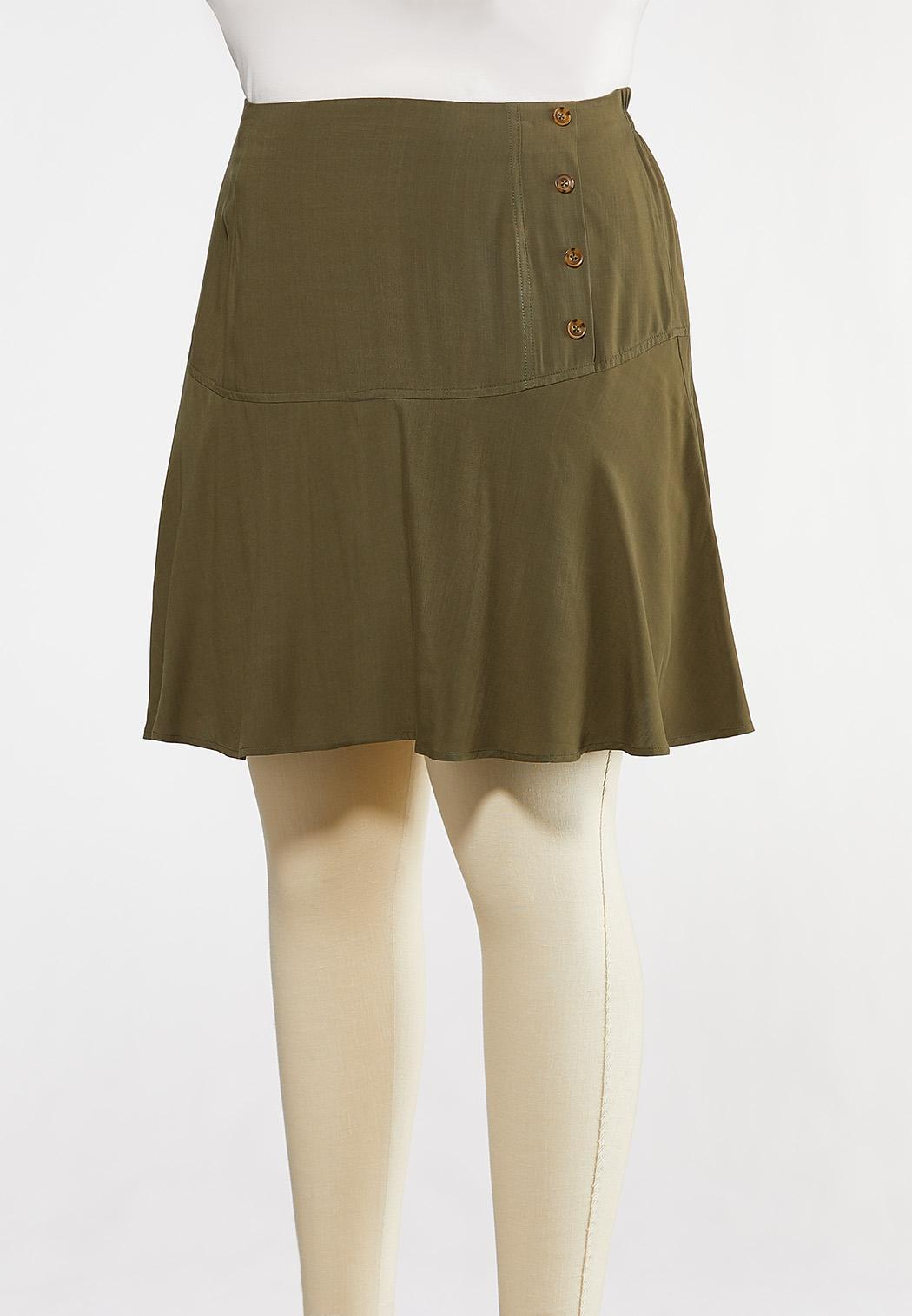 Plus Size Olive Button Skort (Item #44269418)