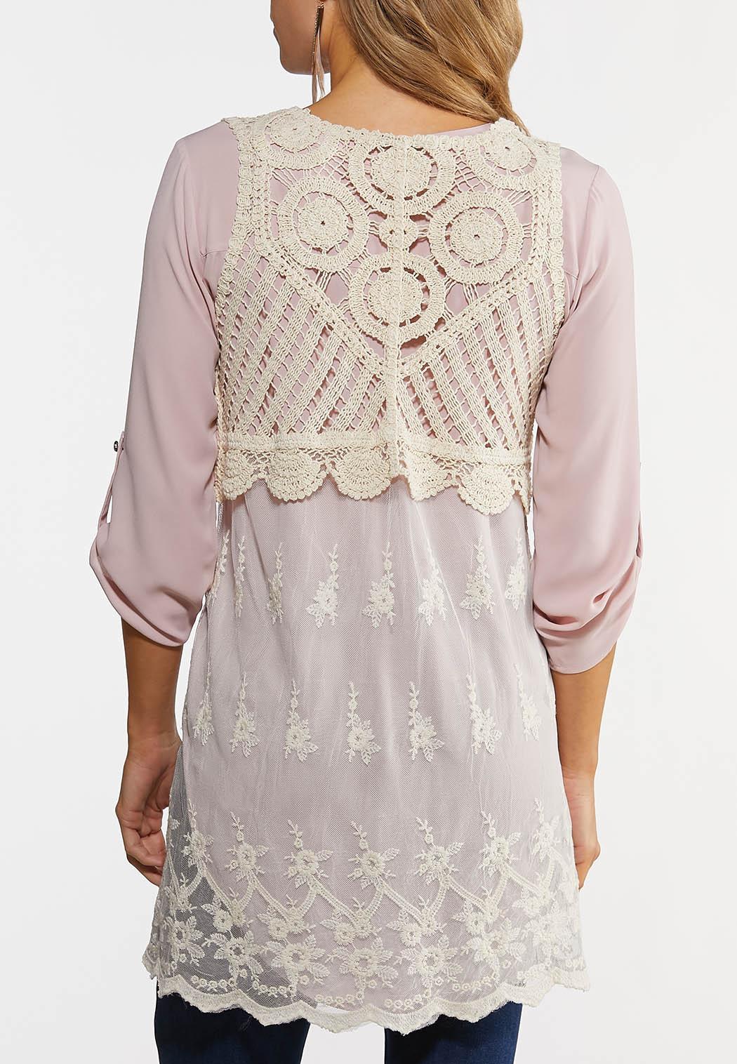 Ivory Crochet Mesh Vest (Item #44269434)