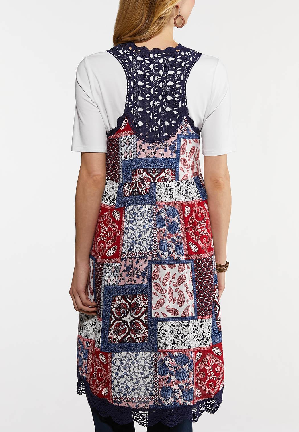 Plus Size Crochet Trim Patchwork Vest (Item #44269482)