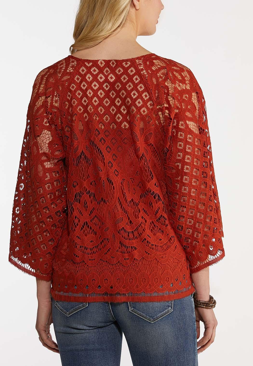 Plus Size Tassel Tie Crochet Top (Item #44269505)