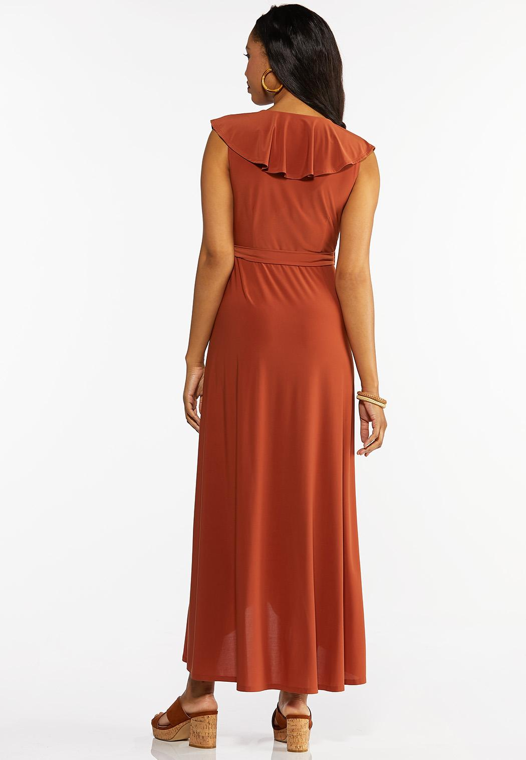 Ruffle Neck Wrap Maxi Dress (Item #44269583)