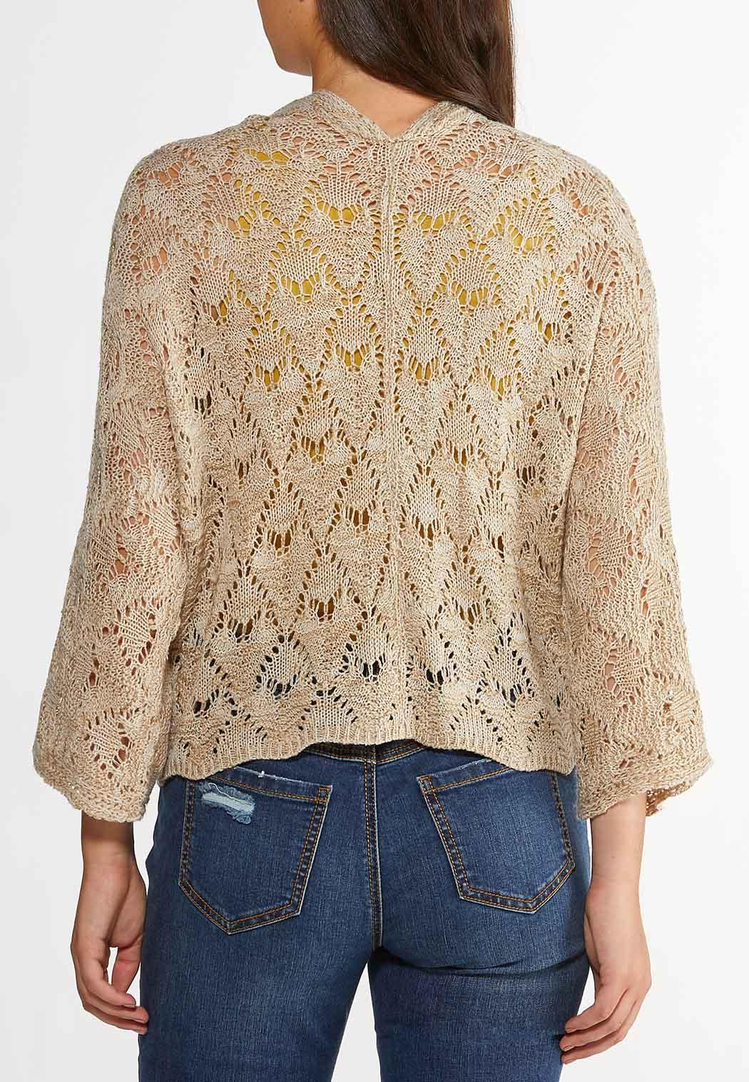 Plus Size Natural Pointelle Cardigan Sweater (Item #44269741)