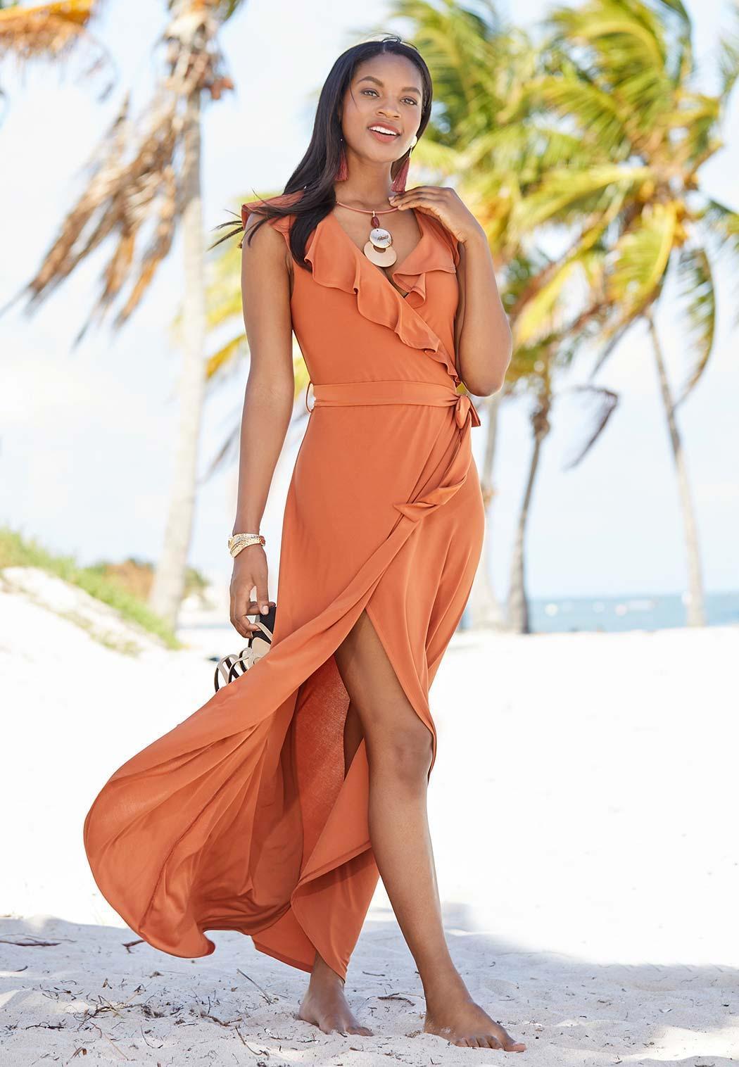 Plus Size Ruffle Neck Wrap Maxi Dress (Item #44269769)