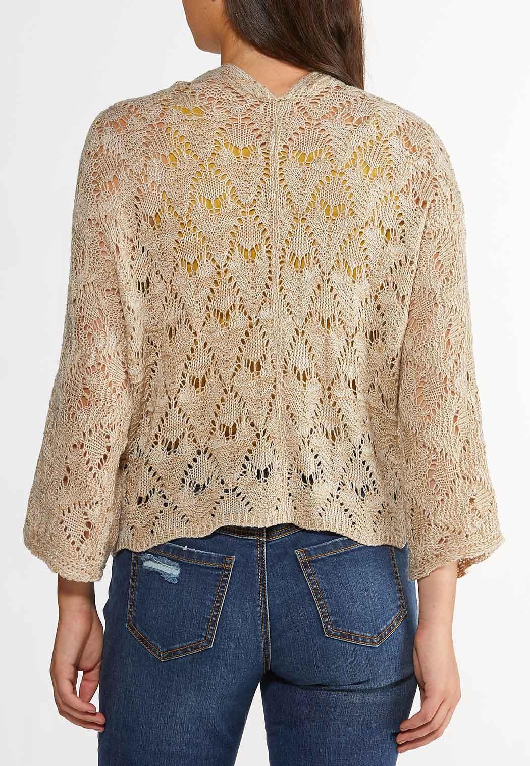 Natural Pointelle Cardigan Sweater (Item #44269820)