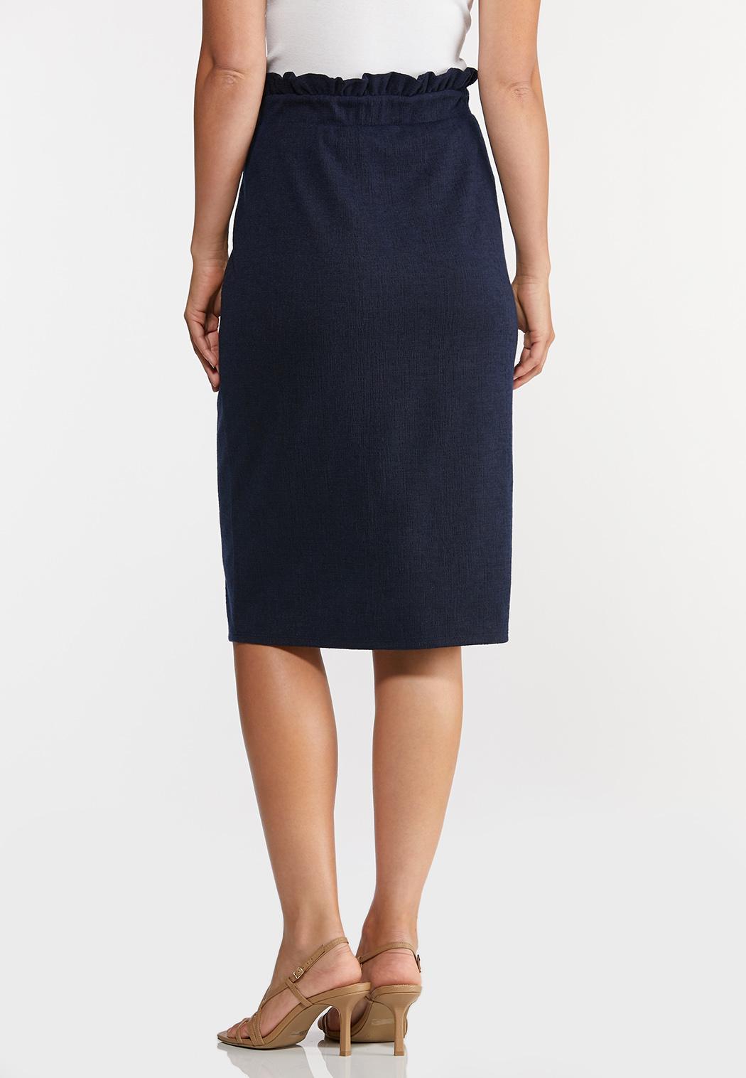 Plus Size Paperbag Tie Waist Skirt (Item #44269884)
