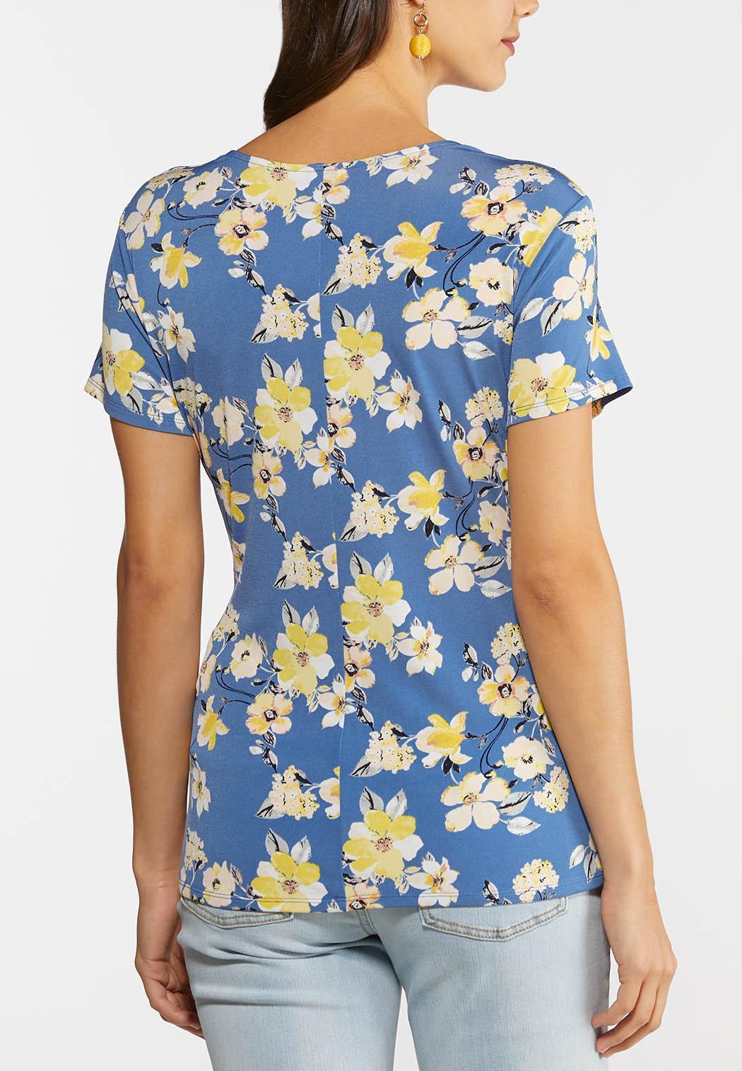 Plus Size Floral Faux Wrap Top (Item #44270268)