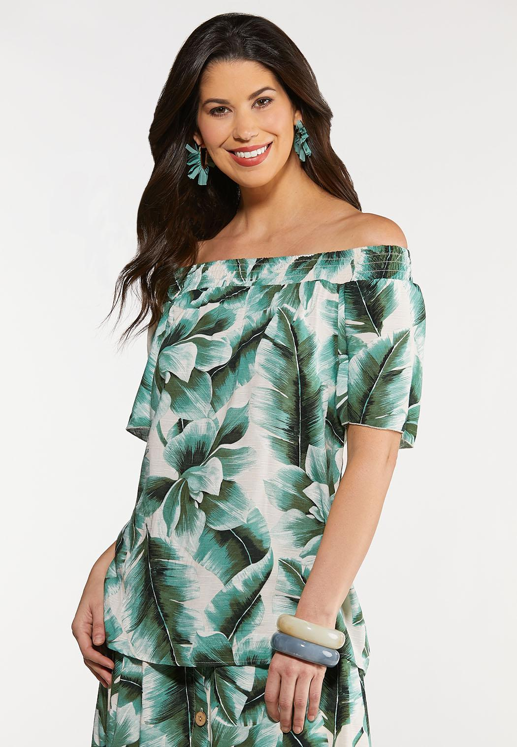 Plus Size Tropical Palm Poet Top (Item #44270924)