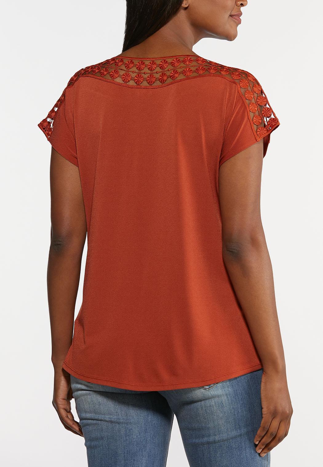 Plus Size Crochet Trim Top (Item #44270925)