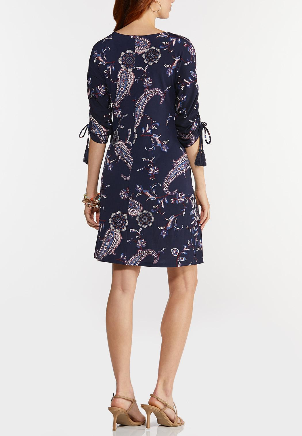 Plus Size Navy Paisley Shift Dress (Item #44271487)