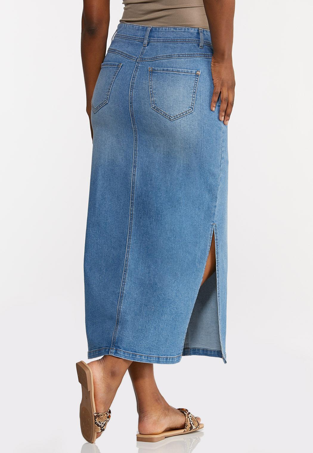 Plus Size Denim Side Slit Maxi Skirt (Item #44271923)