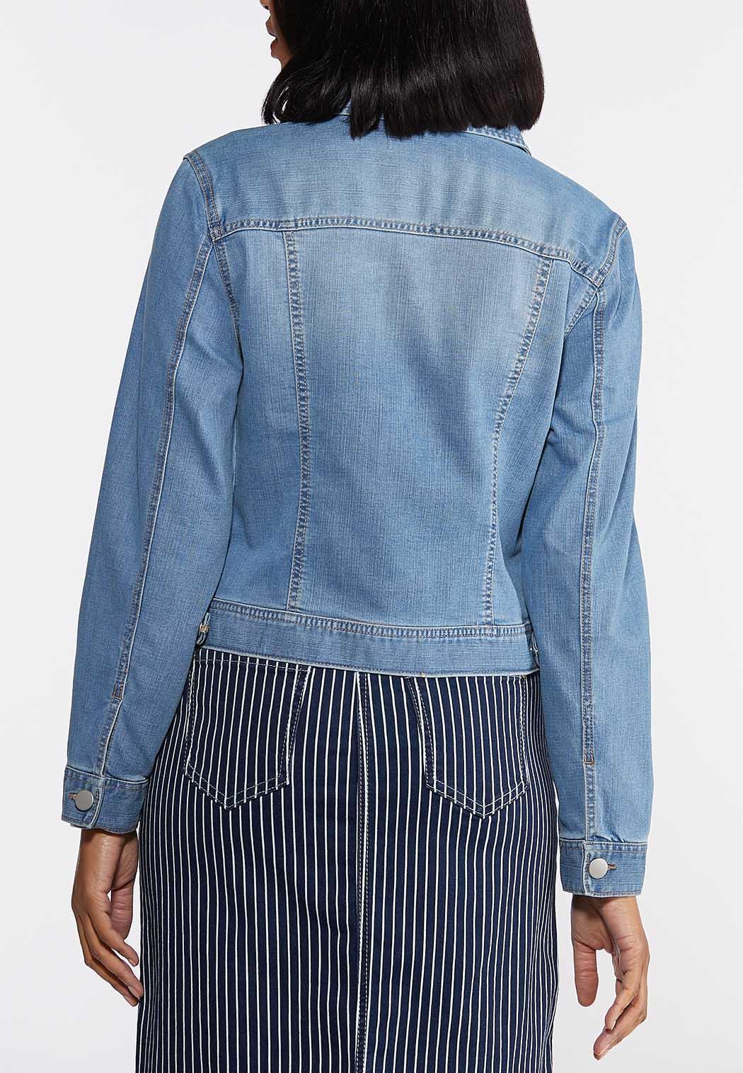 Plus Size Distressed Denim Jacket (Item #44272020)