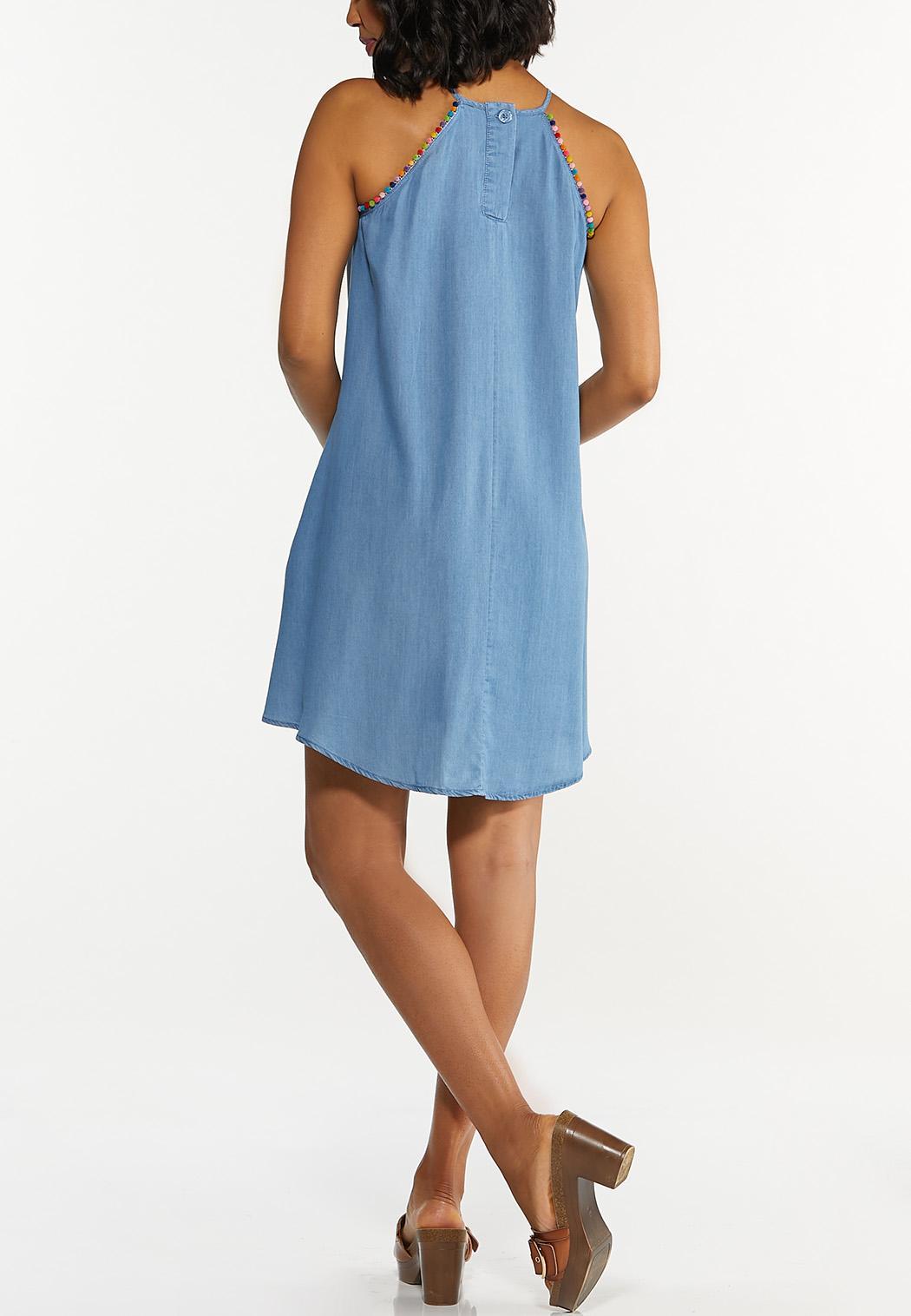 Chambray Pom-Pom Swing Dress (Item #44272064)