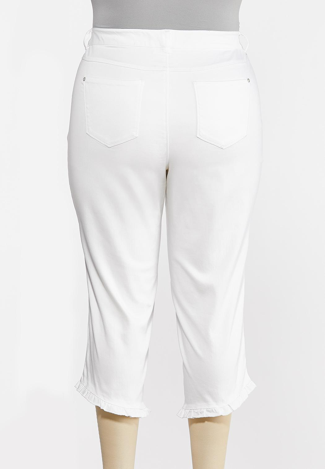 Plus Size Cropped Ruffle Skinny Jeans (Item #44272091)