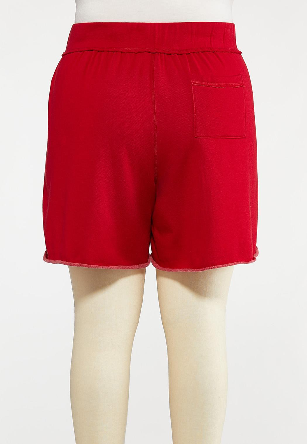 Plus Size Red Fleece Lined Shorts (Item #44272416)