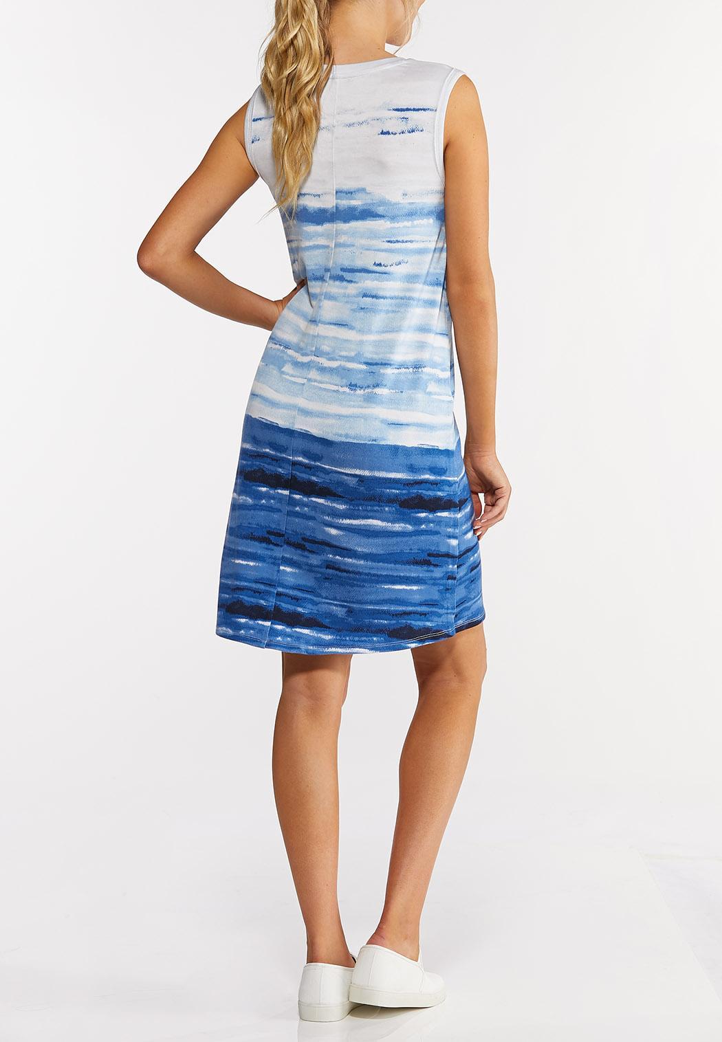 Plus Size Blue Tie Dye Dress (Item #44272517)