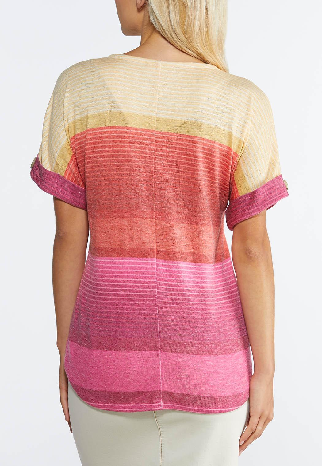 Plus Size Mitered Stripe Bubble Hem Top (Item #44272604)