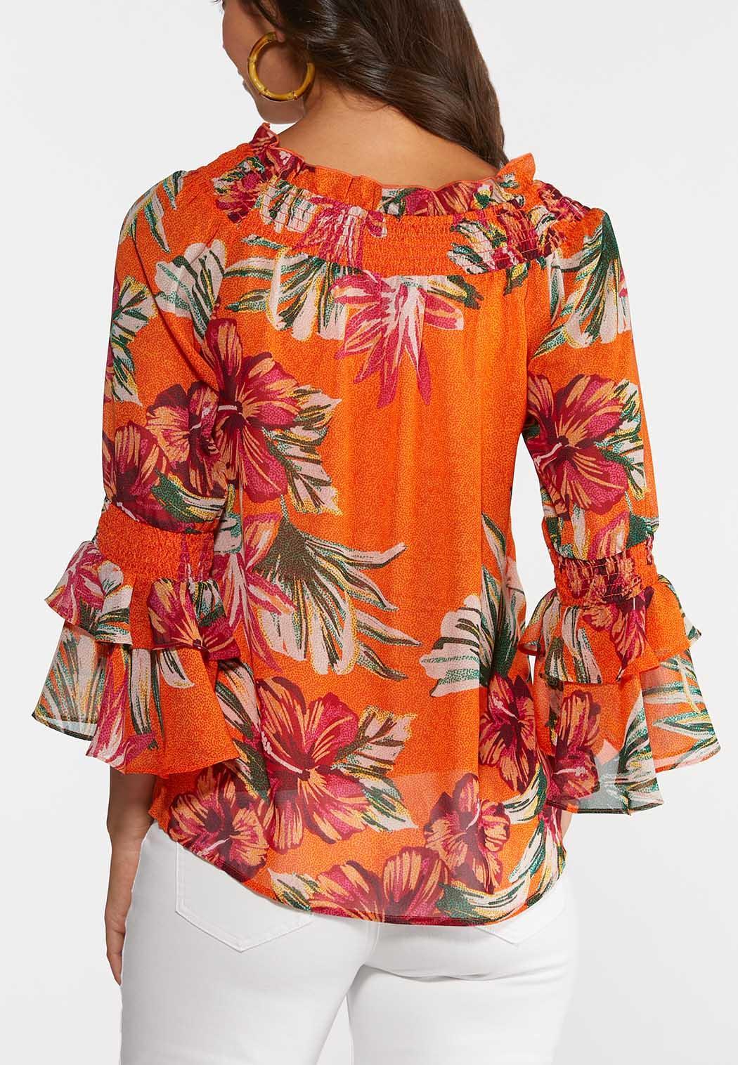 Plus Size Citrus Floral Poet Top (Item #44272620)
