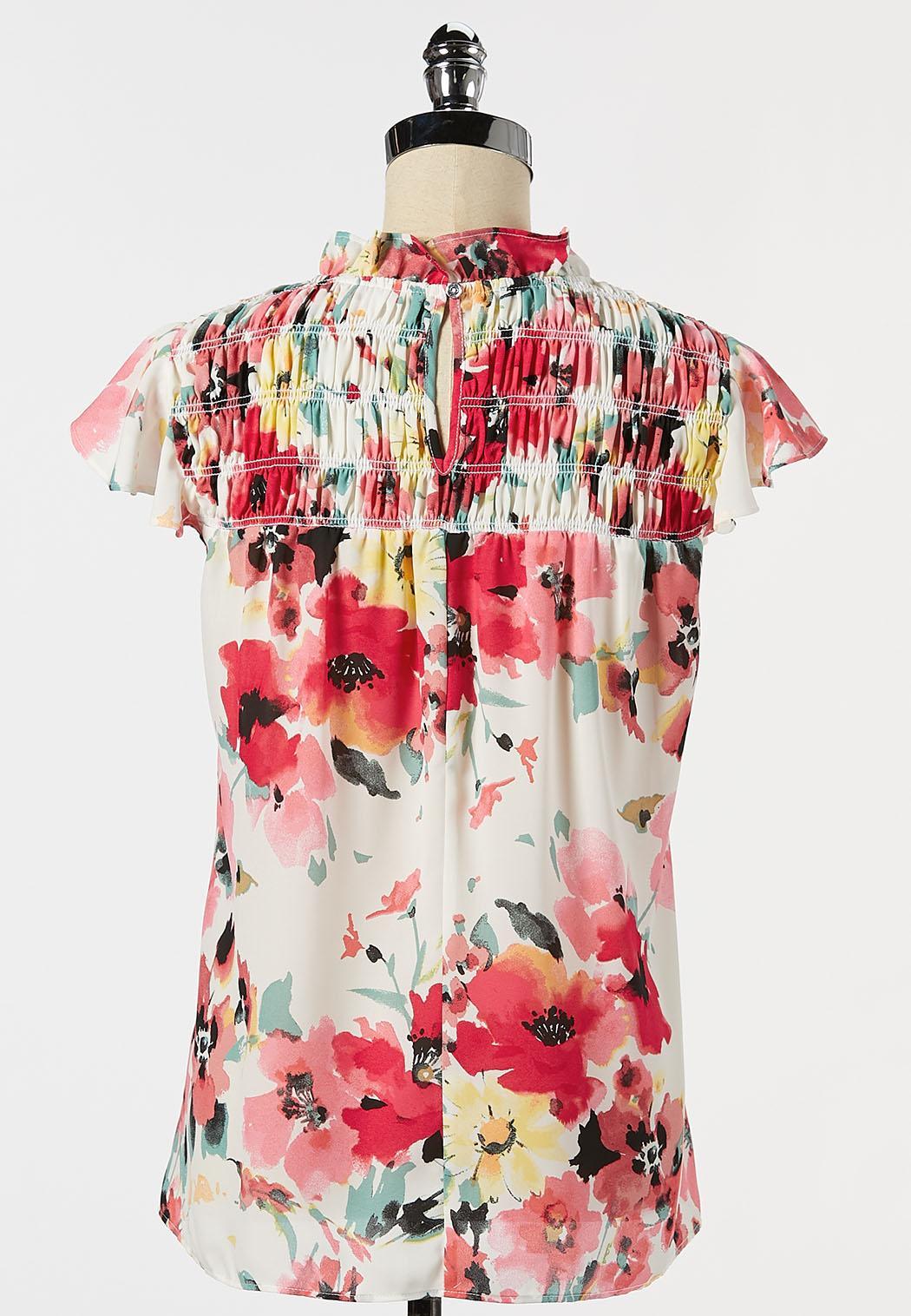 Floral Ruffled Mock Neck Top (Item #44272631)