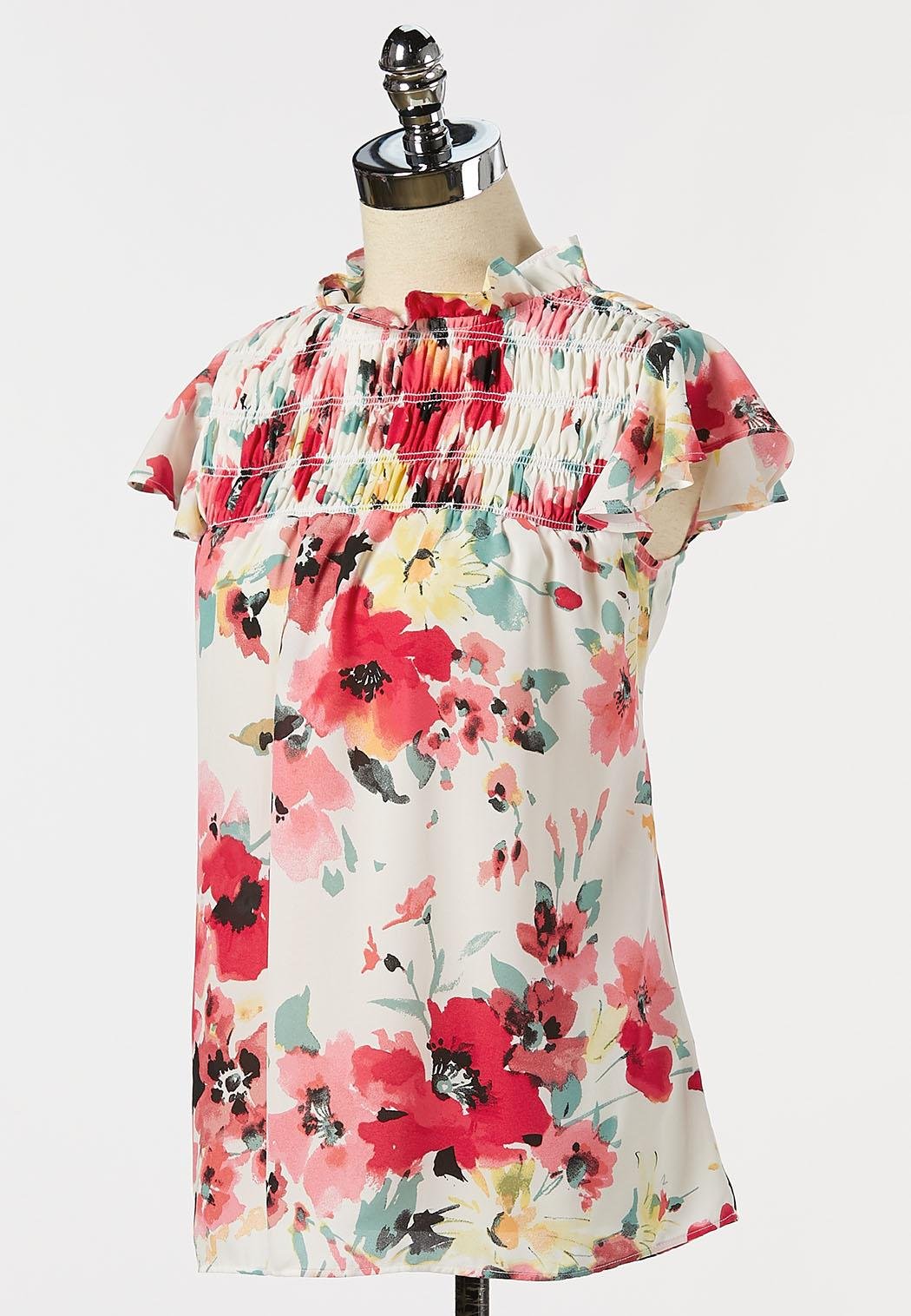 Plus Size Floral Ruffled Mock Neck Top (Item #44272652)