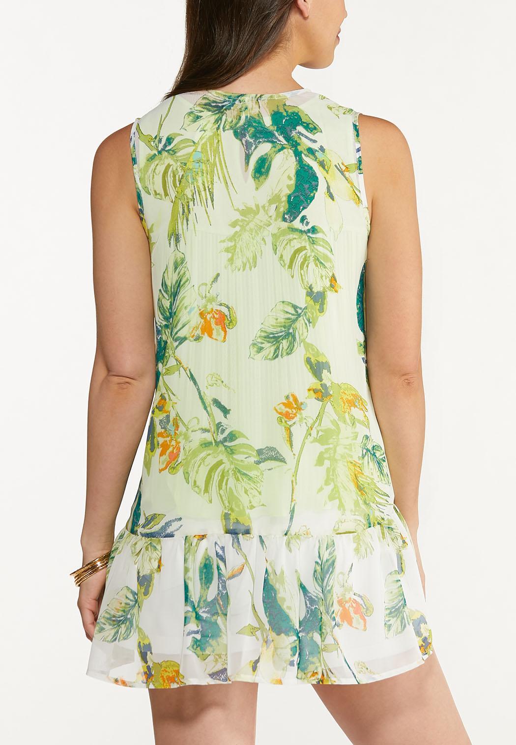 Plus Size Tropical Ruffled Hem Vest (Item #44272737)