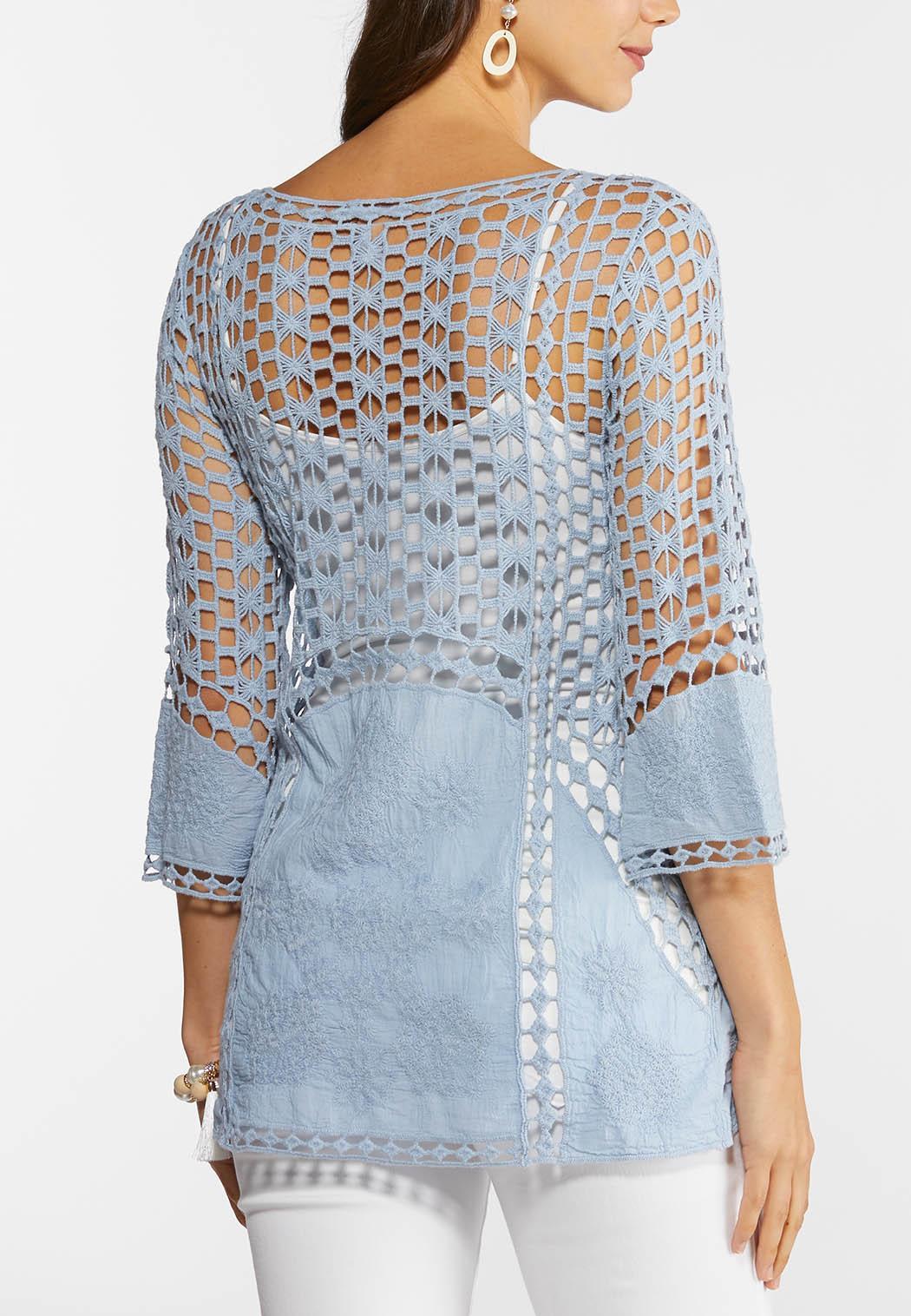Crochet Slate Blue Top (Item #44272750)
