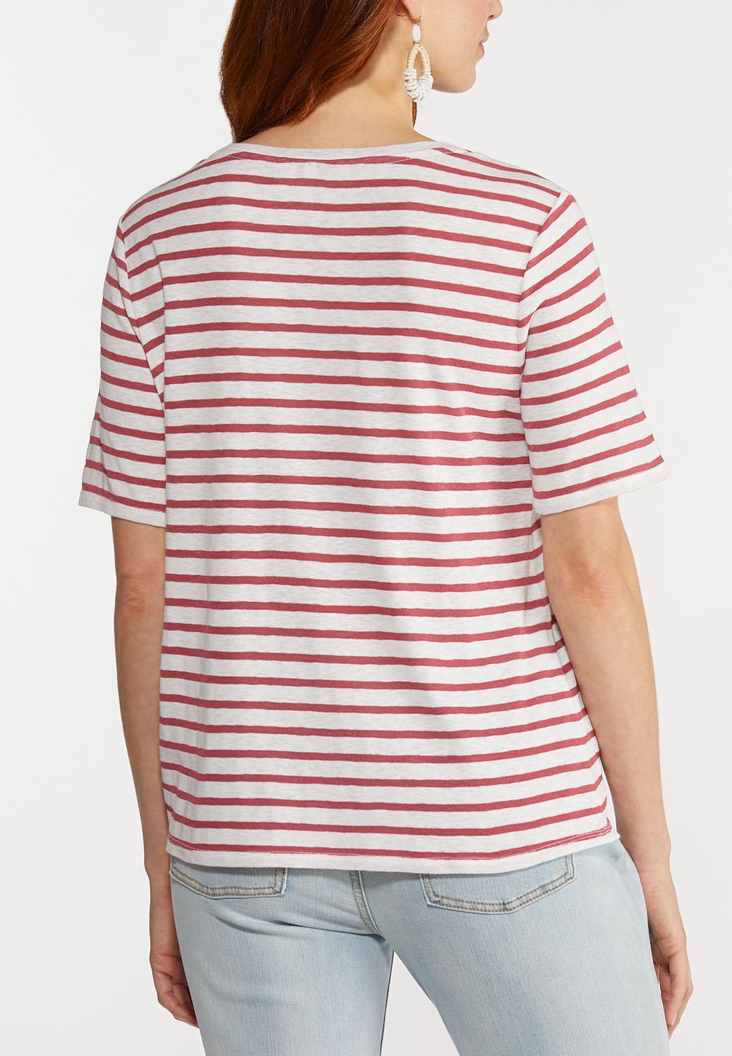 Plus Size Striped Side Cinch Tee (Item #44273719)