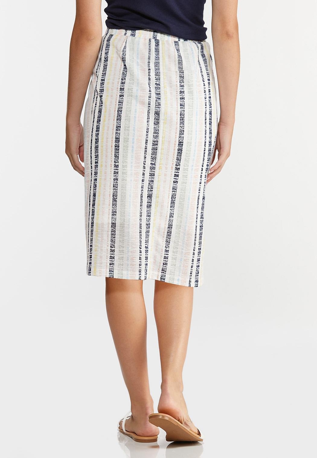 Plus Size Faded Stripe Midi Skirt (Item #44273725)