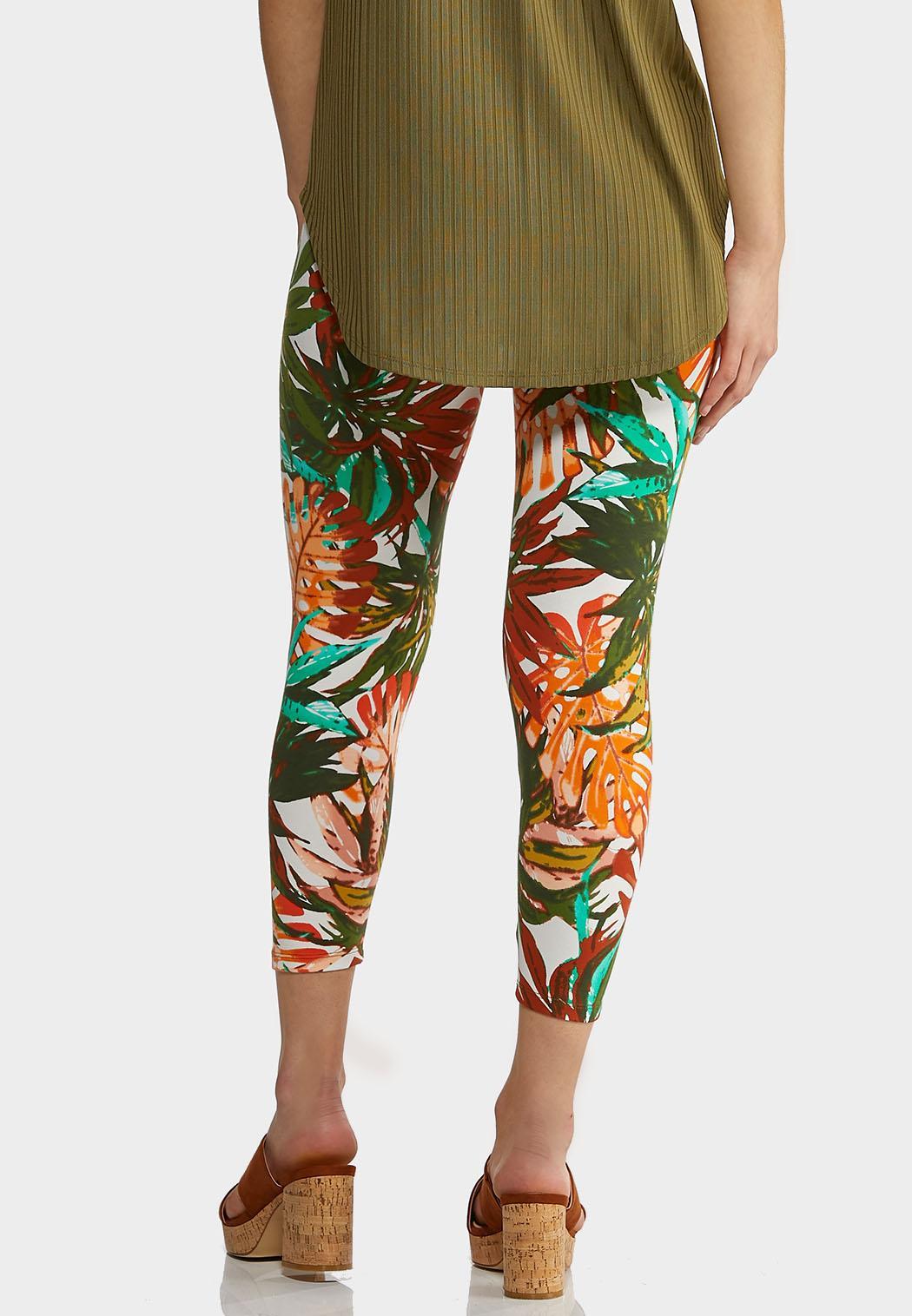 Cropped Tropical Leaf Leggings (Item #44273863)