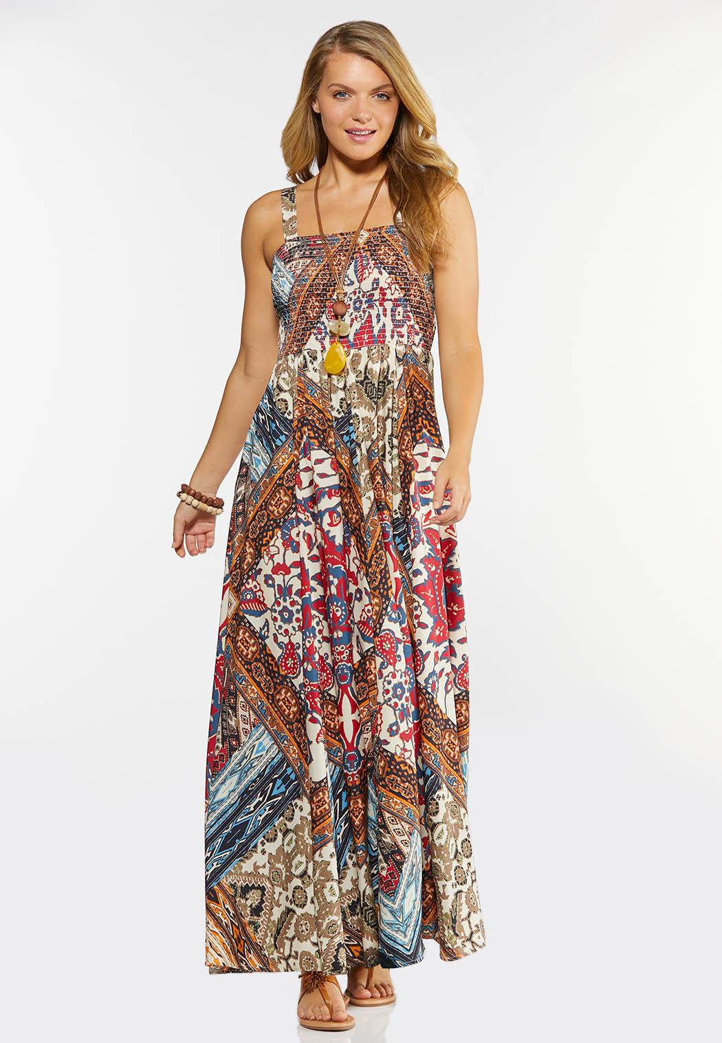 Plus Size Smocked Patchwork Maxi Dress (Item #44273895)