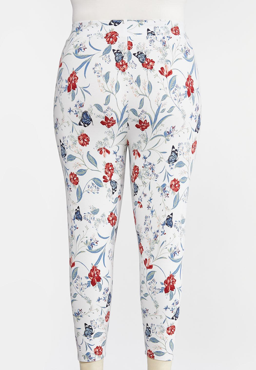 Plus Size Cropped Butterfly Leggings (Item #44274022)
