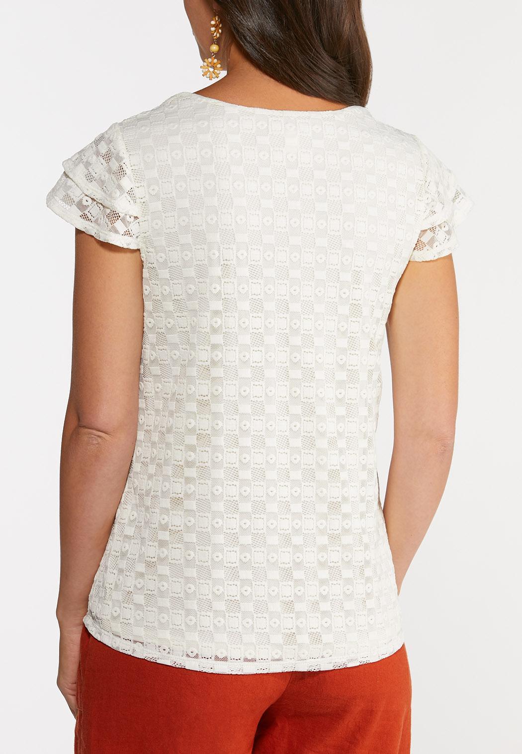Plus Size Lace Square Neck Top (Item #44274096)