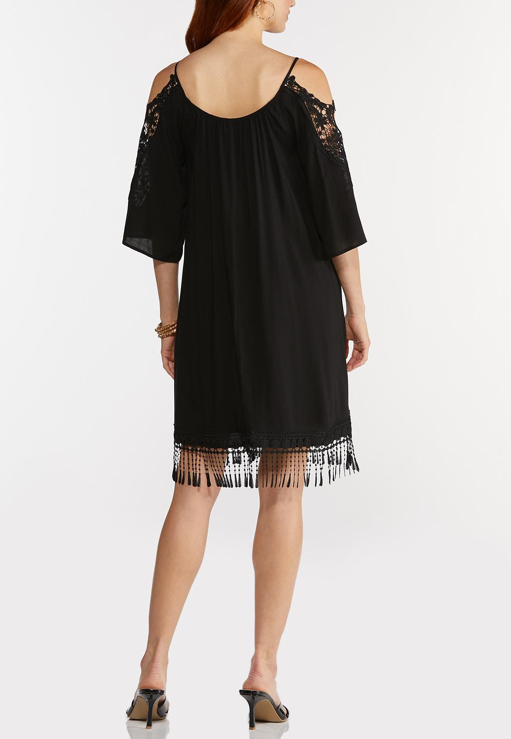 Plus Size Lacy Cold Shoulder Swing Dress (Item #44274122)
