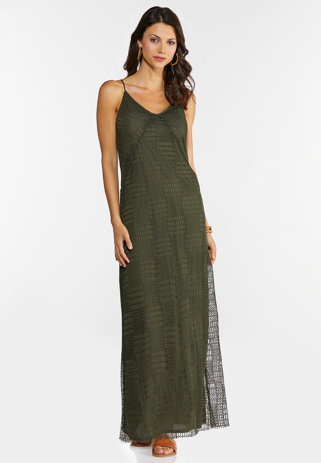 Plus Size Stretch Crochet Maxi Dress (Item #44274196)