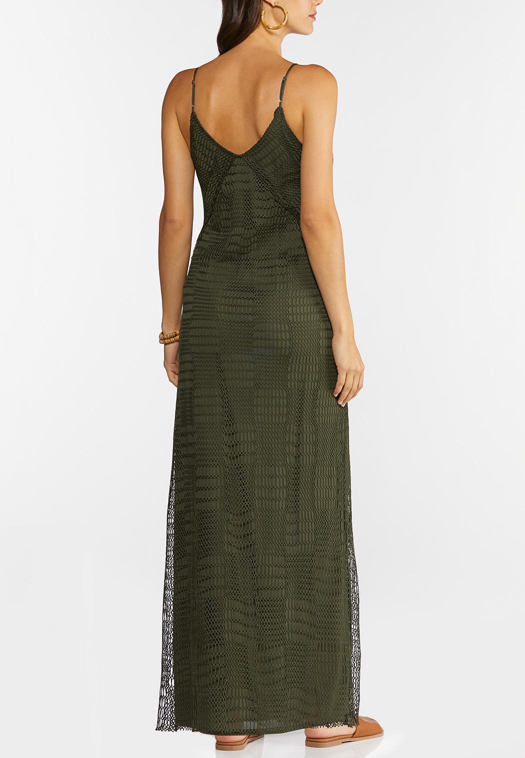 Plus Petite Stretch Crochet Maxi Dress (Item #44274221)