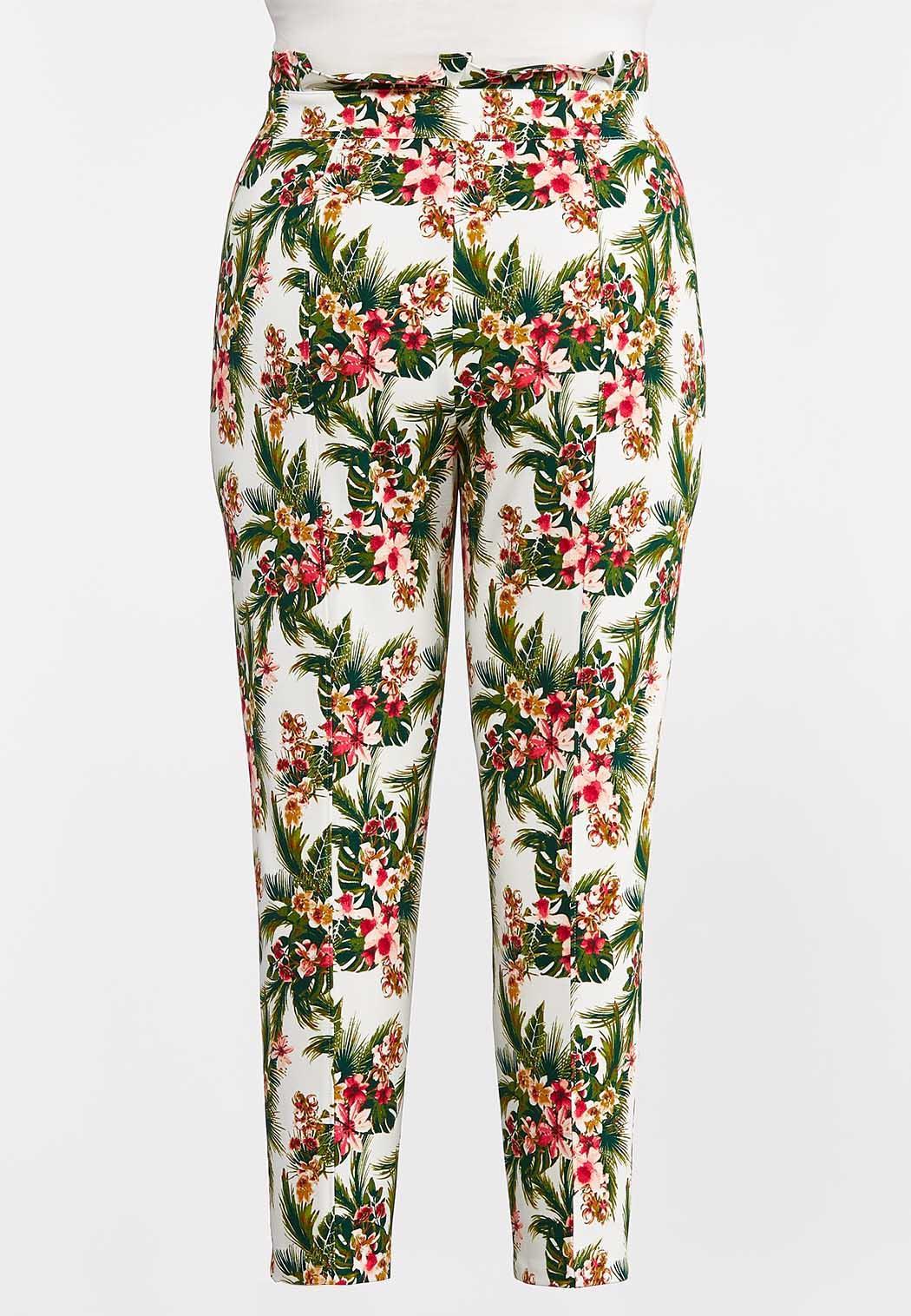 Plus Size Tropical Slim Utility Pants (Item #44274306)