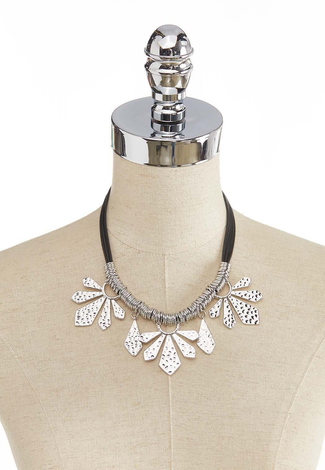 Textured Metal Petal Cord Necklace (Item #44274483)